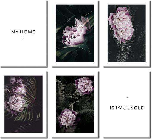 rózowe kwiatki na plakacie