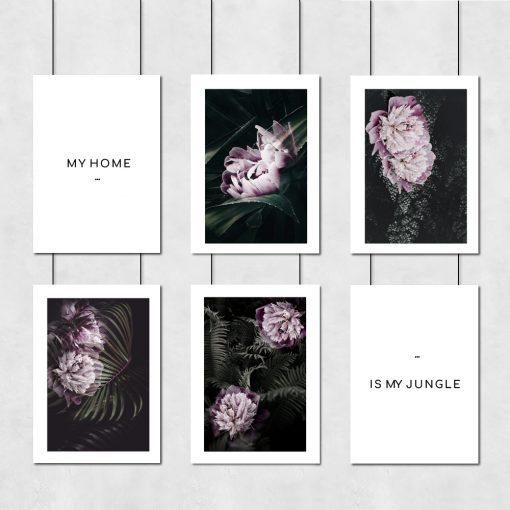plakaty z kwiatami i napisami