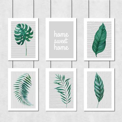 zielone liście na plakatach