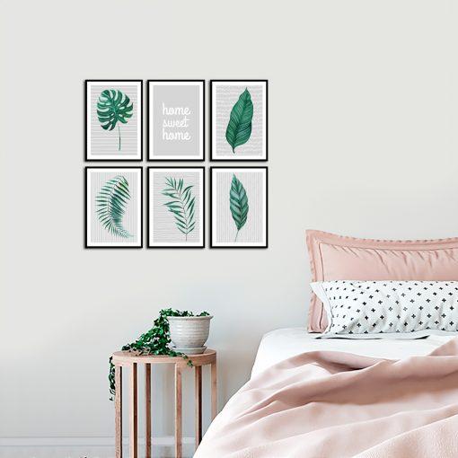 sypialnia z motywem zestawu plakatów