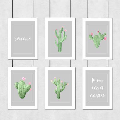 motyw kaktusów na plakatach