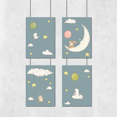 Zestaw plakatów z gwiazdkami i księżycem
