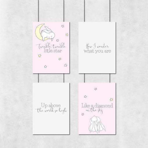 Zestaw różowych plakatów dziecięcych