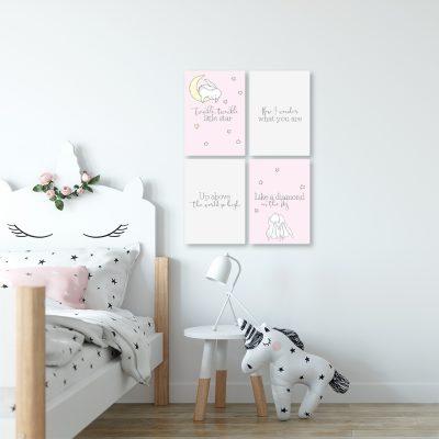 Różowo-szary zestaw plakatów do dekoracji pokoju dziecka