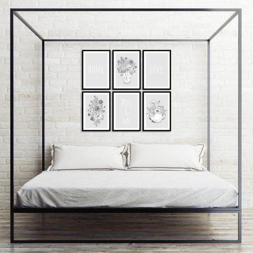 Zestaw szarych plakatów do dekoracji sypialni