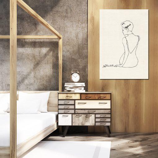 Minimalistyczny plakat z kobietą do sypialni
