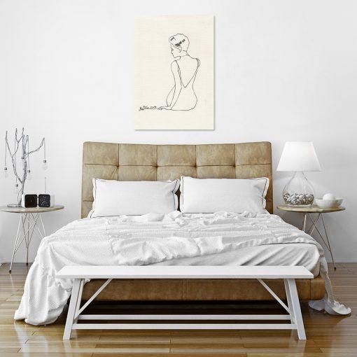 Plakat ze szkicem kobiety do sypialni