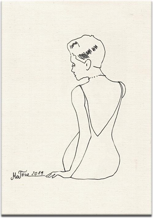 Plakat z reprodukcją szkicu kobiety