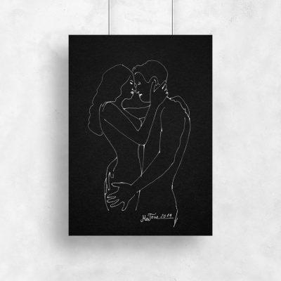 Plakat z motywem kobiety i mężczyzny