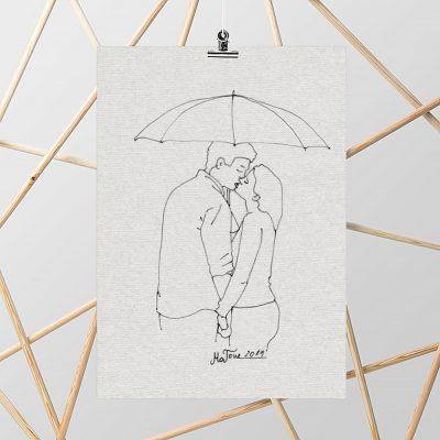 Plakat ze szkicem pocałunku