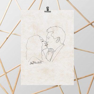 Plakat z motywem pocałunku