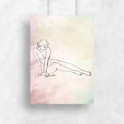 Plakat ze szkicem kobiety