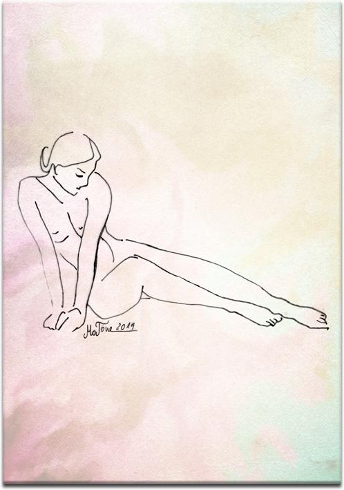 Plakat z minimalistycznym rysunkiem kobiety