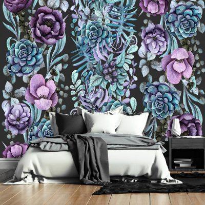 motyw ciemnych kwiatów jako dekoracja