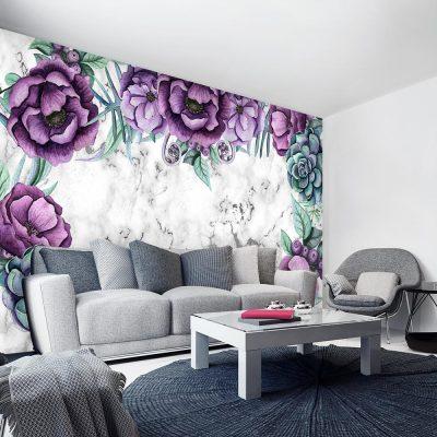 motyw marmurka i kwiaty