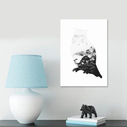 sowa jako czarno-biały plakat