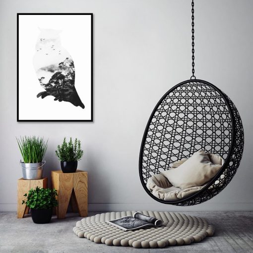 sowa czarno-biała