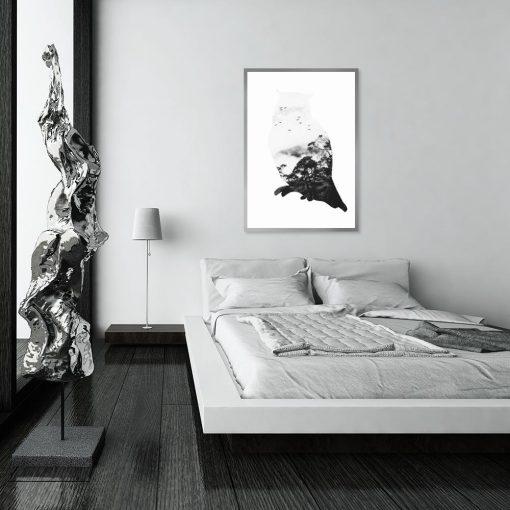 motyw czarno-białej sowy