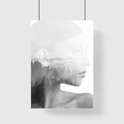 drzewa na plakacie z kobietą