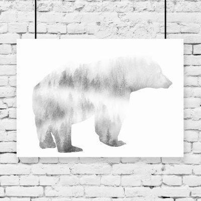 plakat zmotywem lasu i niedźwiedzia