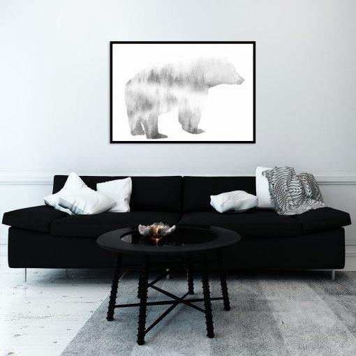 niedźwiedź na plakacie do salonu