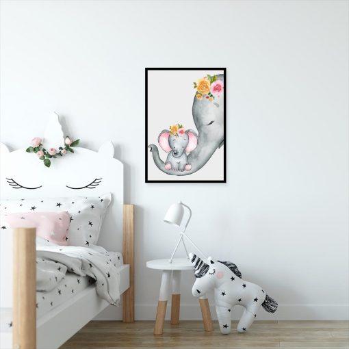 plakat z motywem słoników
