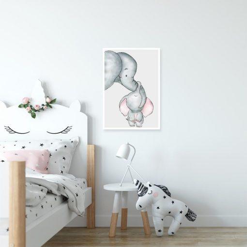 plakat szary i słonie