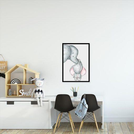 plakat dla dziecka ze słonikami