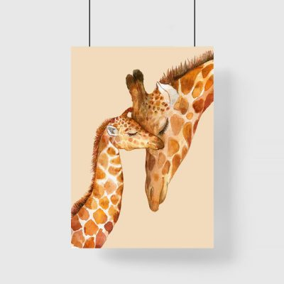 plakat z motywem żyraf