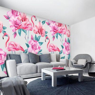 salon z motywem różowej tapety