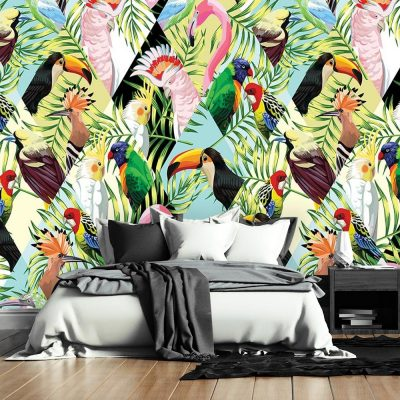 tapeta z motywem tukanów i flamingów