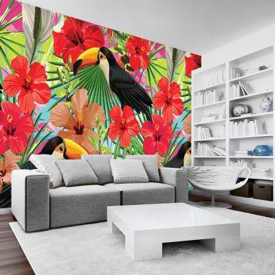 motyw tukanów i kwiatków