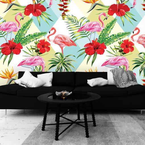 dekoracja z motywem flamingów