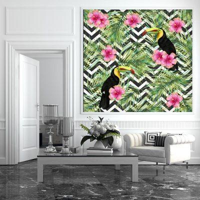 tukany i kwiatki jako dekoracja