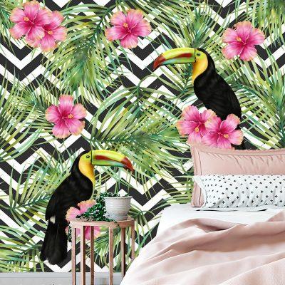 dekoracja z tropikami