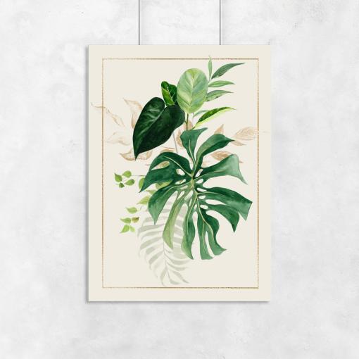 liście na plakacie tropikalnym
