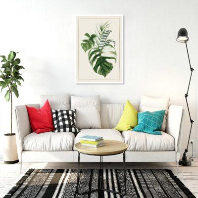 plakat z motywem tropikalnych liści
