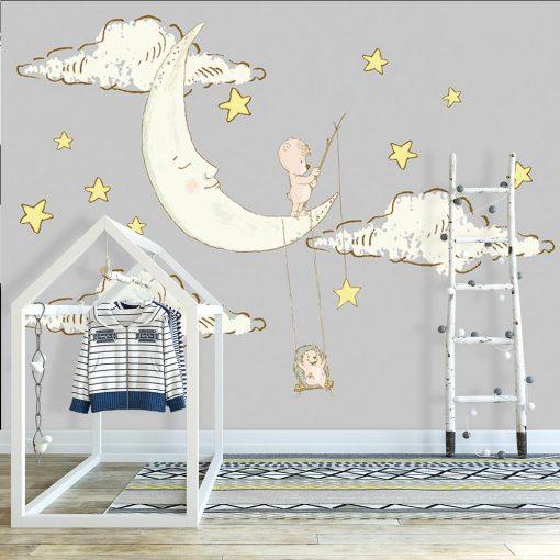 tapeta dla dziecka z księżycem