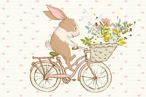 króliczek który jedzie na rowerze