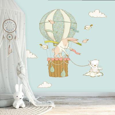 tapeta z balonem i królikiem