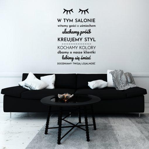 Naklejka zasady w salonie