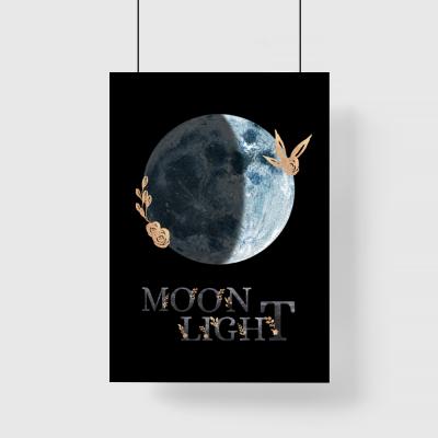 Plakat księżyc i napis