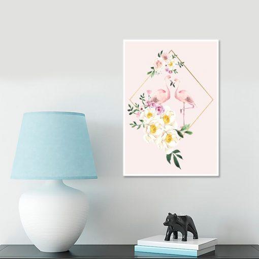 Różowy plakat z flamingami