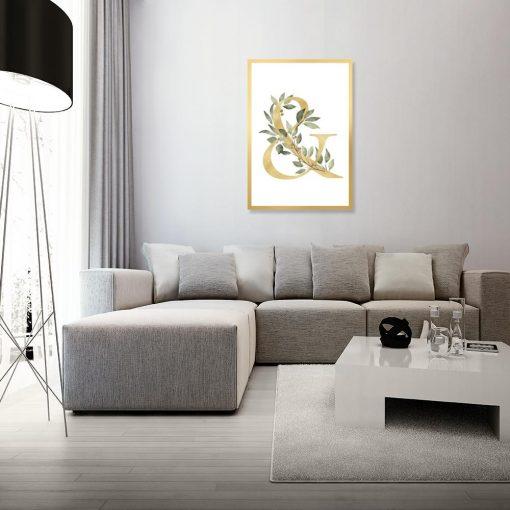 Plakat z żółtym motywem do salonu