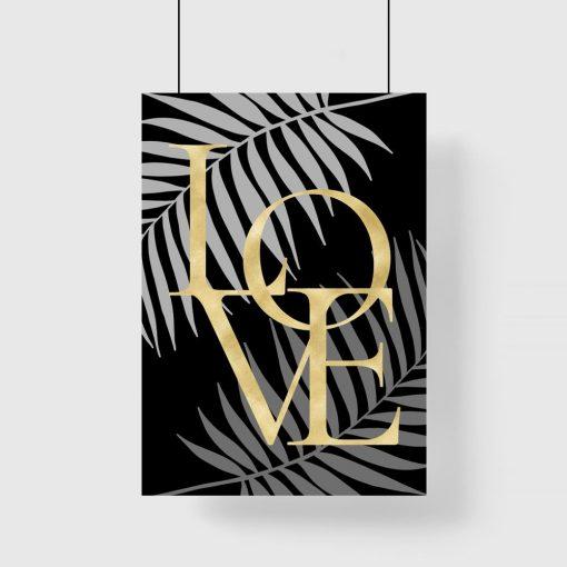 Plakat liście palmy i napis love