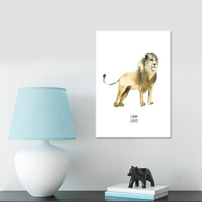 Plakat lew i łaciński podpis