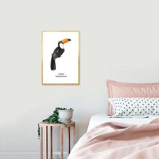Plakat z tropikalnym ptakiem