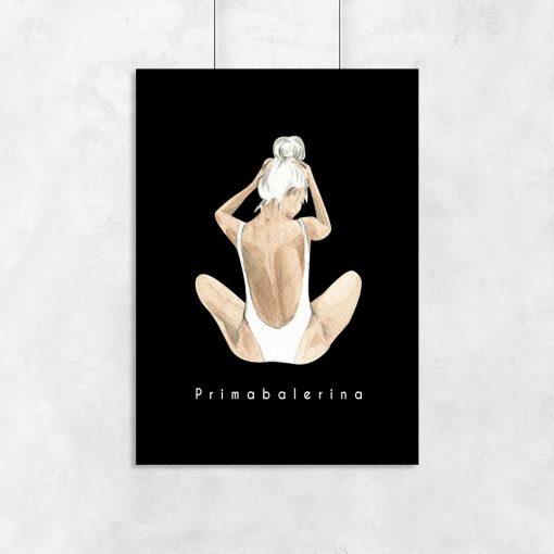 Plakat czarno-biały z primabaleriną
