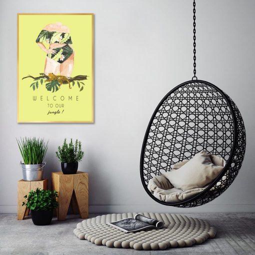Plakat z gepardem i kobietą