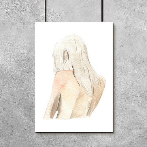 Plakat z kobietą odwróconą tyłem